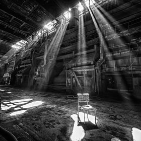 Sunlight breaking through the windows, scene from an abandoned steelworks somewhere in German.