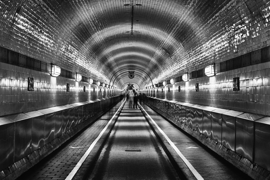 The old tunnel underneath Hamburg Harbour. Long exposure.