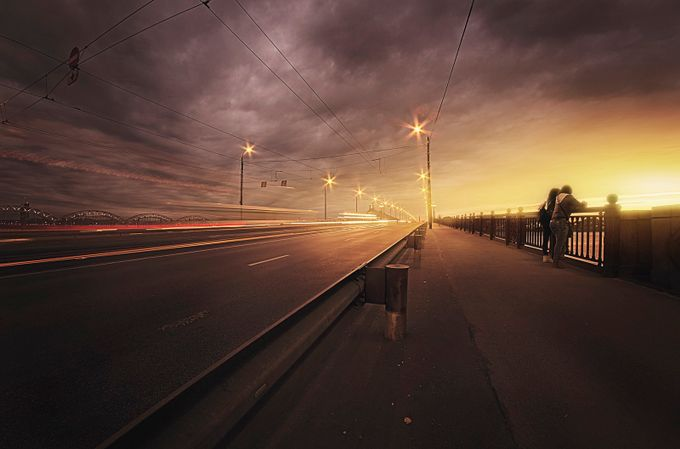 Sunset by the bridge by ilyayakover - Composition And Leading Lines Photo Contest