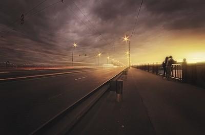 Sunset by the bridge