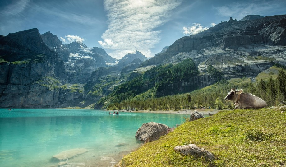 Beautiful mountain lake in Switzerland