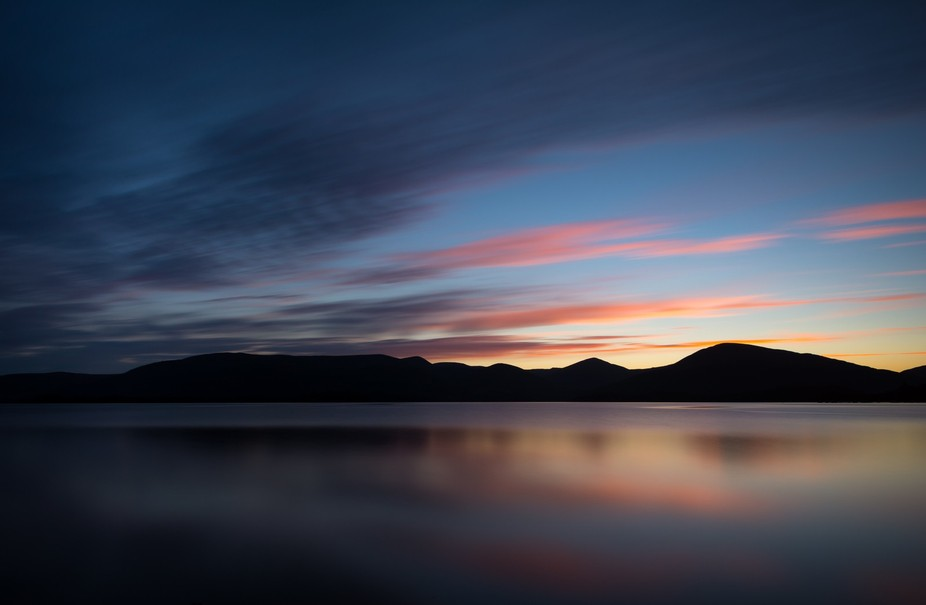 long exposure sunset at Loch Lomond Scotland