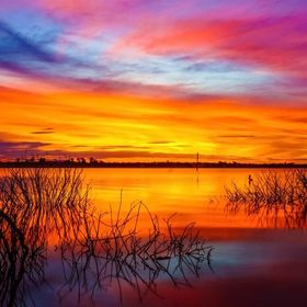Glorious Colourful Sunset at Lake Eppalock in October 2014. This was a magical evening.  Lake Eppalock is a man-made lake or an impounded reservo...