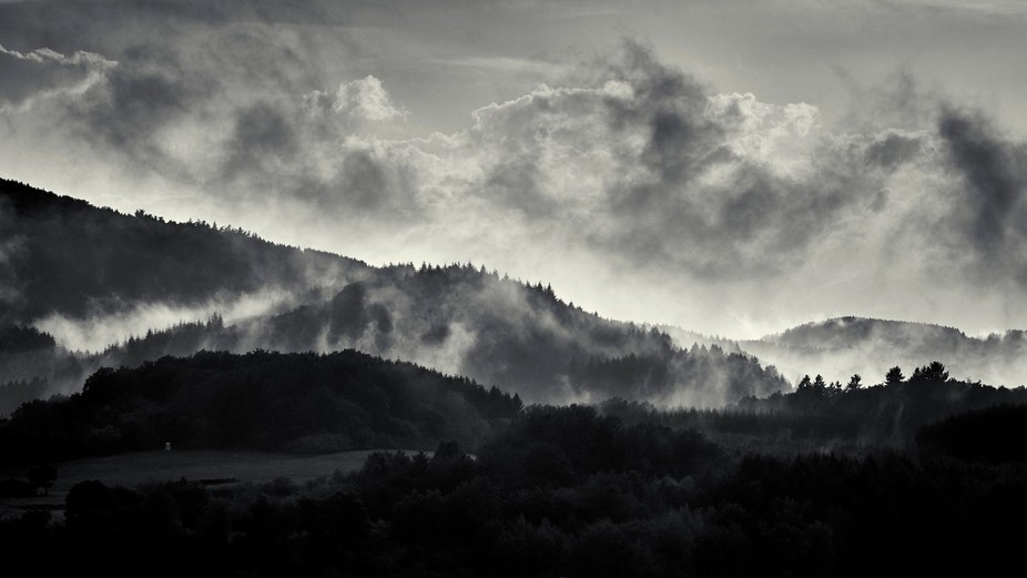After the storm the fog is crawling up the hills...