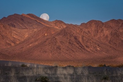 Moonset at Sunrise over Amargosa Dunes