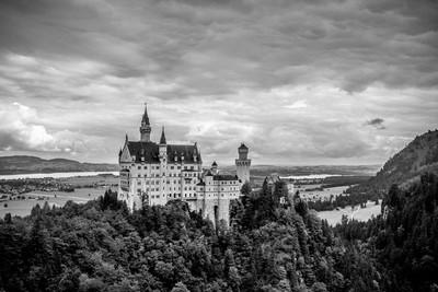 Neuschwanstein Castle in B&W