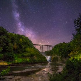 This is the upper Falls at Letchworth State Park. I live in an area surrounded by light pollution so it is nice to have this park where the sky i...