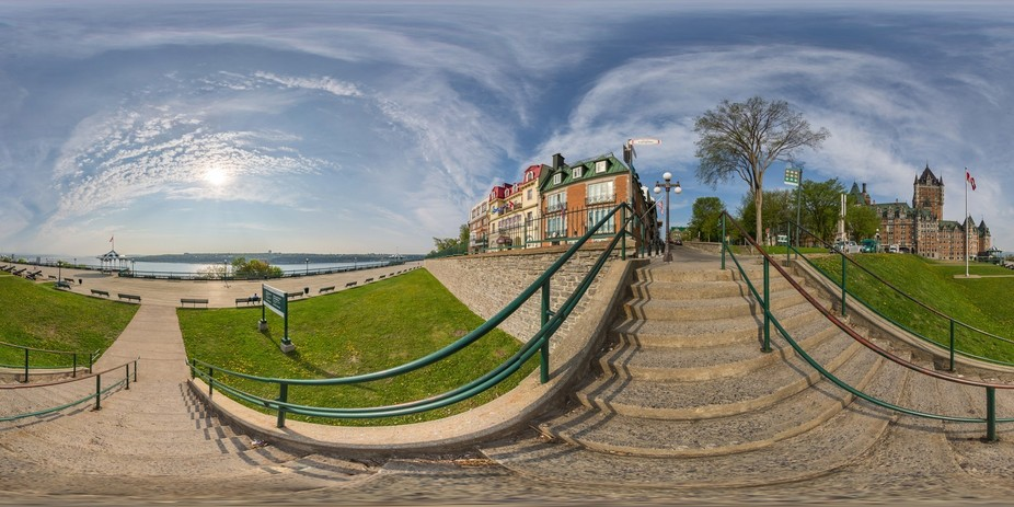 Early morning view on the boardwalk overlooking the St Lawrence River in Quebec City. This is a f...