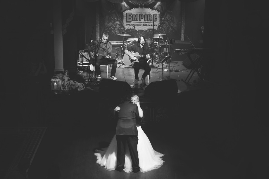 The groom surprised Bride with their favourite tribute act of their favourite band. Four fighters