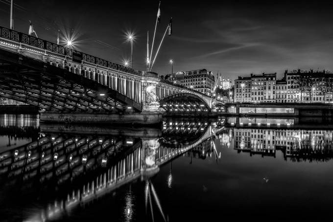 Blue Hour on Lafayette bridge at Lyon in B/W ... by FredericMONIN - Black And White Architecture Photo Contest