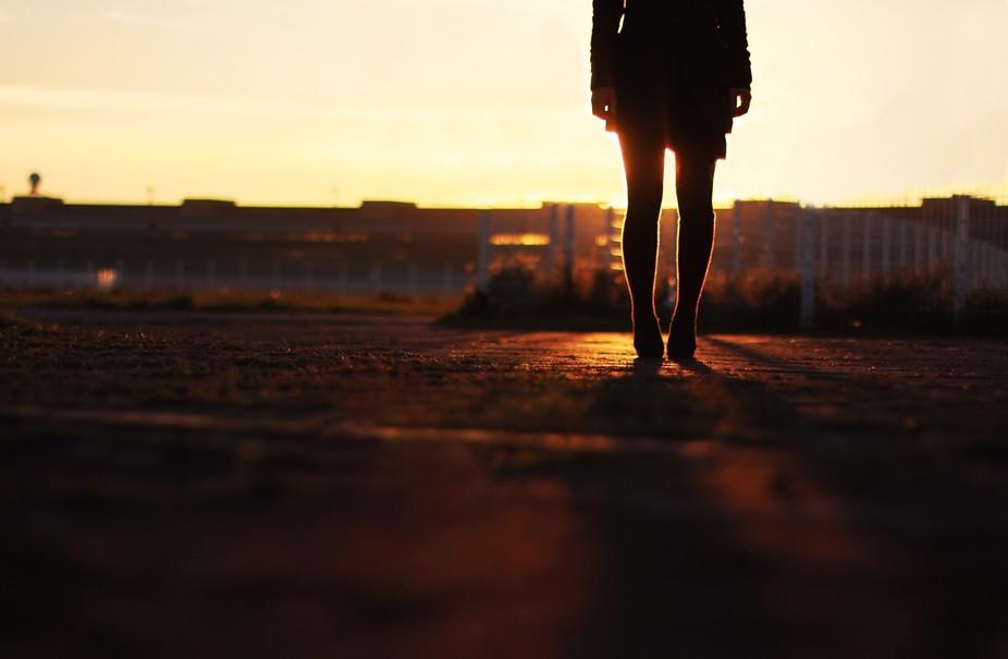 Standing, waiting. Berlin Tempelhofer Felt.
