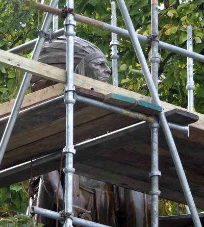 The Statue of Chief Keokuk is getting shinned up. Workers are taking the green patelia off the old landmark. The statue is located in Rand Park of Keokuk, IA.