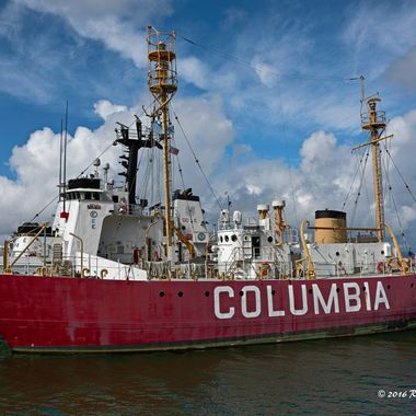 The Columbia was stationed 5.3 statute miles from the mouth of the Columbia River beginning in April 1951. Serving as a floating lighthouse; the lightship marked the approach to the Columbia River. The Columbia was decommissioned in 1979; and arrived at the Columbia River Maritime Museum on December 9; 1980. She is the first vessel in Oregon to be placed on the National Register.   D810 with 24-120 f/4G ED VR at 24mm, f/7.1, 1/400 VR On, Auto ISO 80. Processed in Capture NX-D and PSCS6 Extended using Picture Postcard workflow.