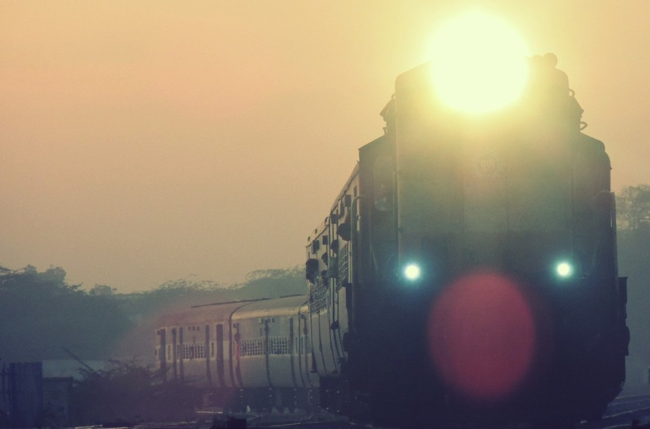 Clicked in the evening at Parbhani Station when the lights of the train were switched on...