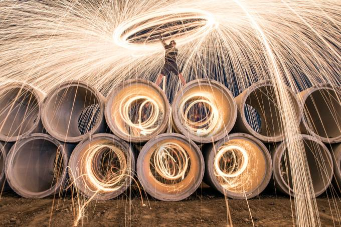 Spinning Sparks by GaryCummins - Composing With Circles Photo Contest