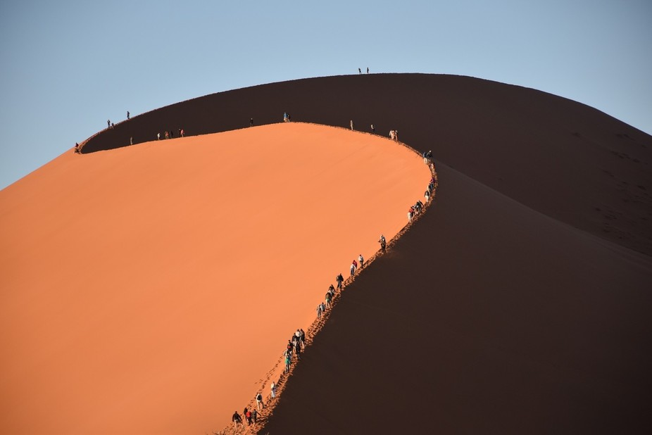 The highest sand dune in the world inspires climbers from the world over to reach the Namibian pe...