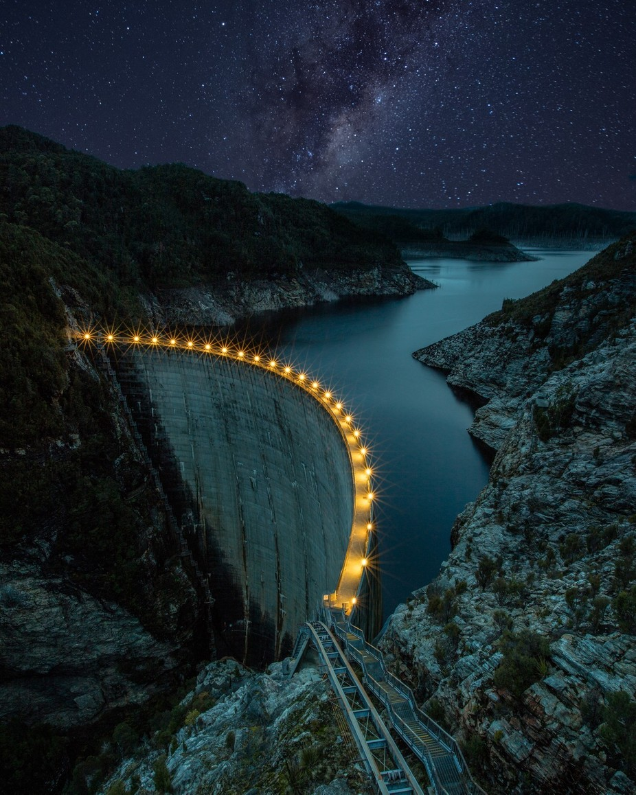 Light It Up - Gordon Dam, Tasmania, Australia by tassiegrammer - Our World At Night Photo Contest