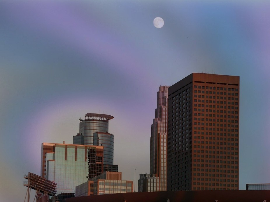 Minneapolis with full moon