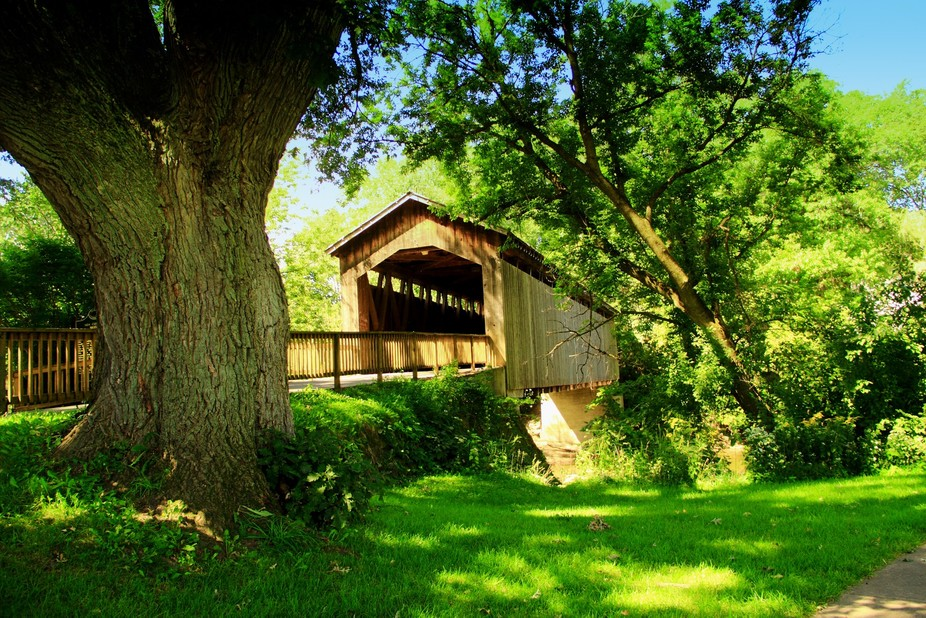 This is the Ada Covered bridge in Ada Michigan built in the late 1800's, threatened by f...