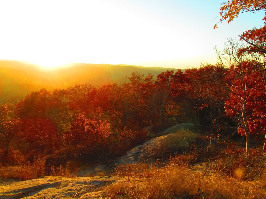 Sunset in the fall over Bear Mountain NY