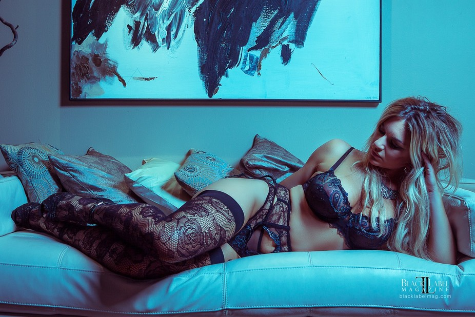 Victoria Sloan relaxes in some stunning Lise Charmel lingerie...shot for an upcoming Black Label ...