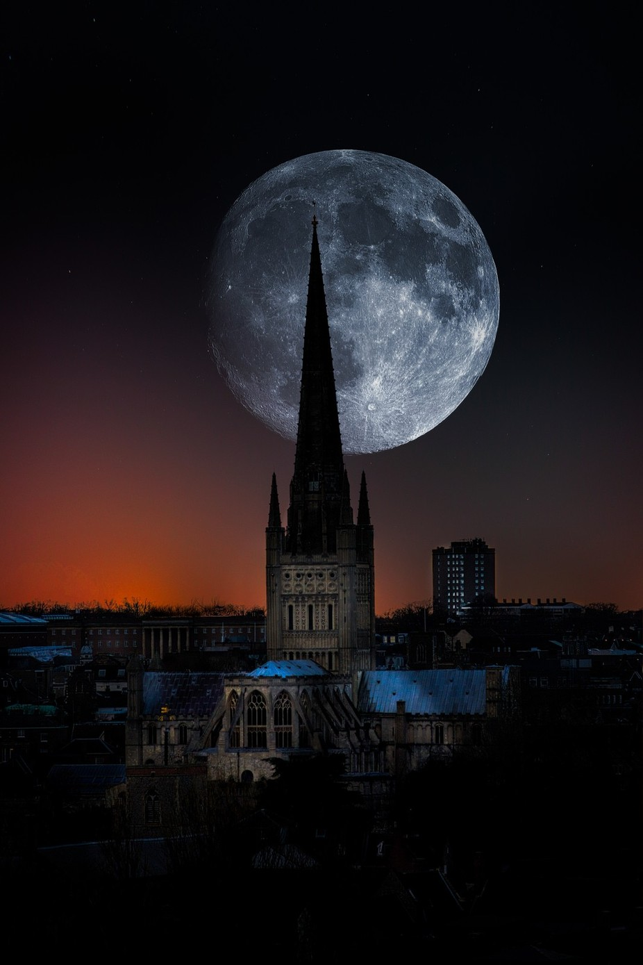 Norwich Cathedral Moon Composite by stevehardiman - Fantasy In Color Photo Contest