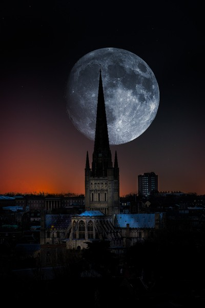 Norwich Cathedral Moon Composite
