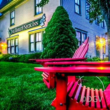 Red Chair on Lawn in Summer at Dusk