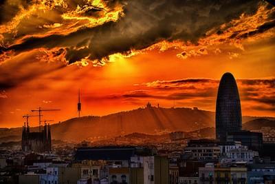 Magic Sunset In Barcelona