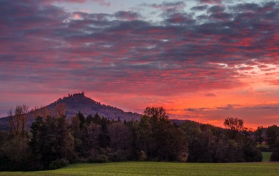 Red Sunset over the Hohenzollern Castle