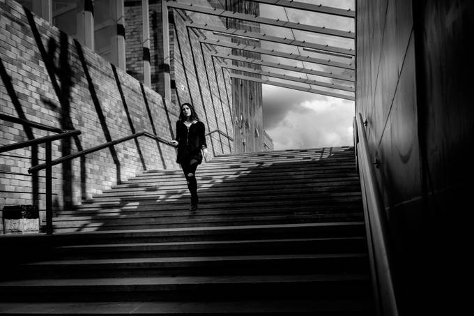 beauty on the staircase by ovosphotography - City Life In Black And White Photo Contest