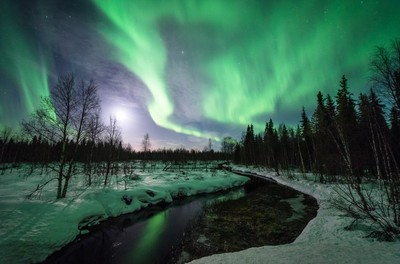 Northern lights and the full moon