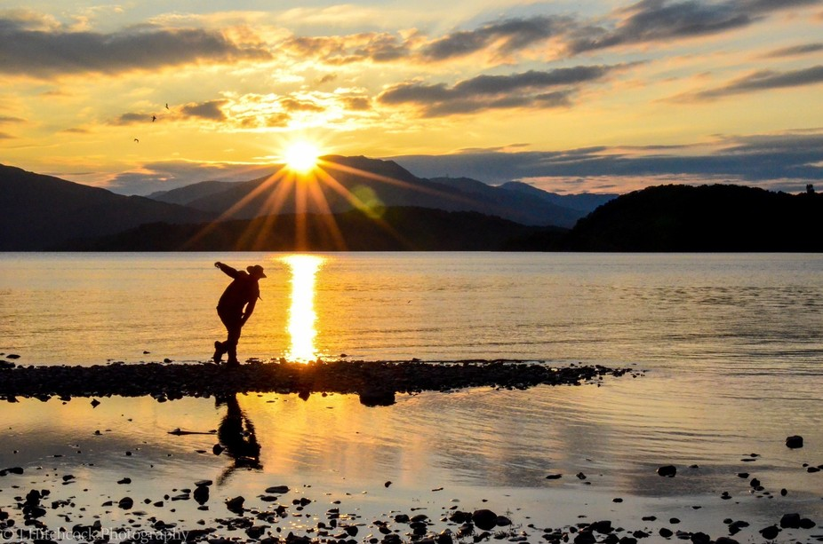 My brother takes time out at the end of a hard day's hiking along the West Highland Way,...