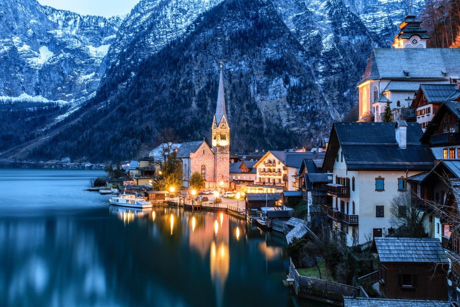Hallstatt village one of the most wonderful place in Austria, placed between Alps mountains on th...