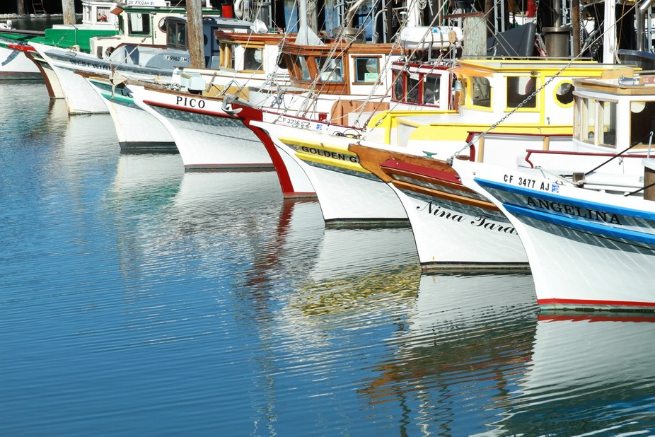 A line of fishing boats in San Francisco