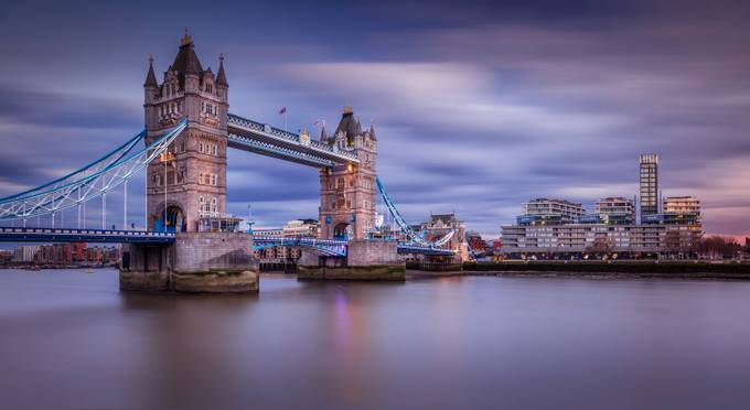 London Tower Bridge Cloudy Sunset by Merakiphotographer