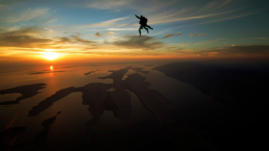 Sunset skydive over Zadar, Croatia. Photo is taken in freefall