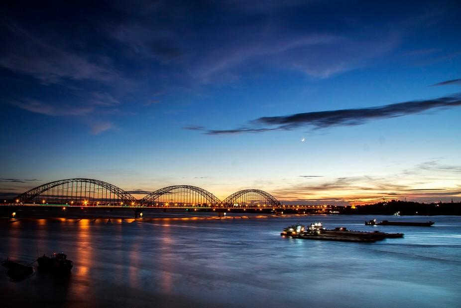Sunset view with nice light of bridge