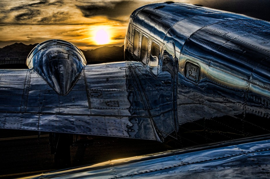 Beechcraft model16 at sunset.