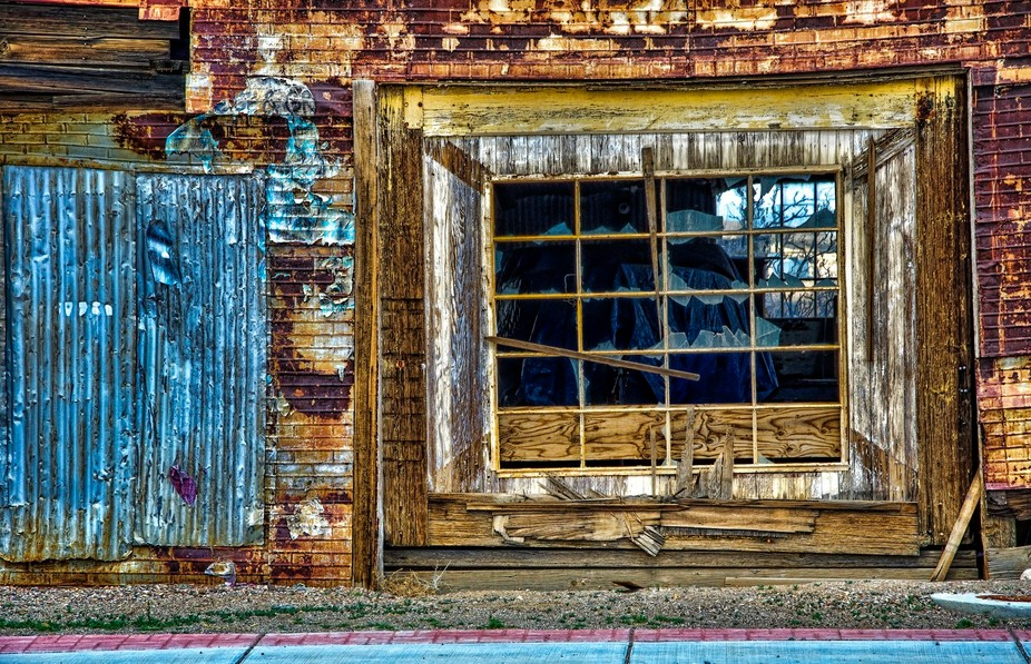 Old weathered storefront in Goldfield Nevada