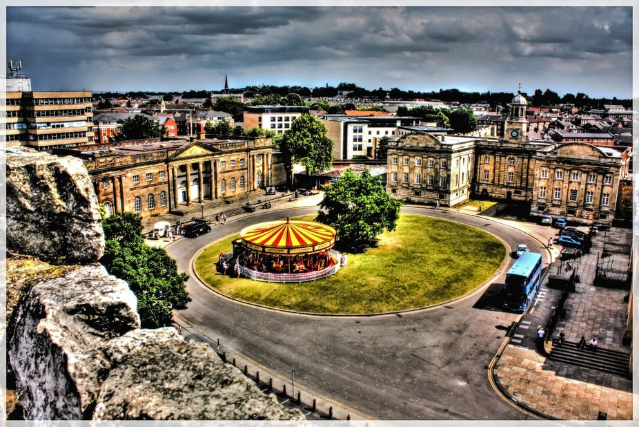 A view of York Crown Court and Castle Museum taken from the top of Clifford's Tower