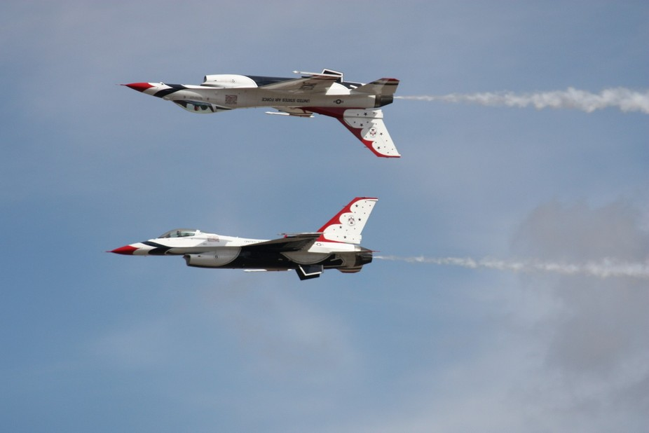 Precision flying performed by the elite U.S. Air Force Thunderbirds at McChord Field, Washington ...
