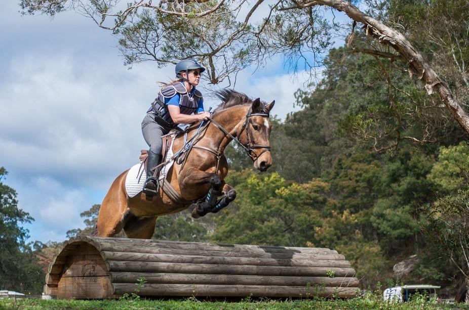 Photo shoot at an equestrian training clinic.