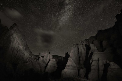 Milky Way and Shooting Star, White Hills, New Mexico_DSC0135