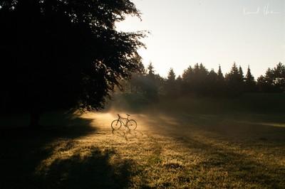 Sunrise over bicykle