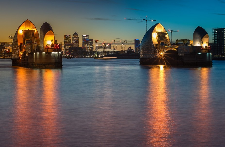 LONDON THAMES BARRIER SUNSET