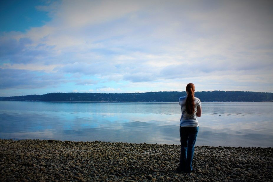 This picture was taken up in Washington on the Puget Sound.  I love the way the clouds are reflec...