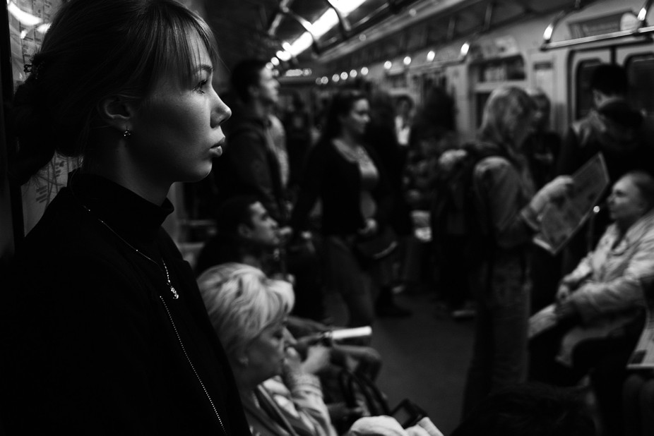 Candid shot. Morning ride in the subway.