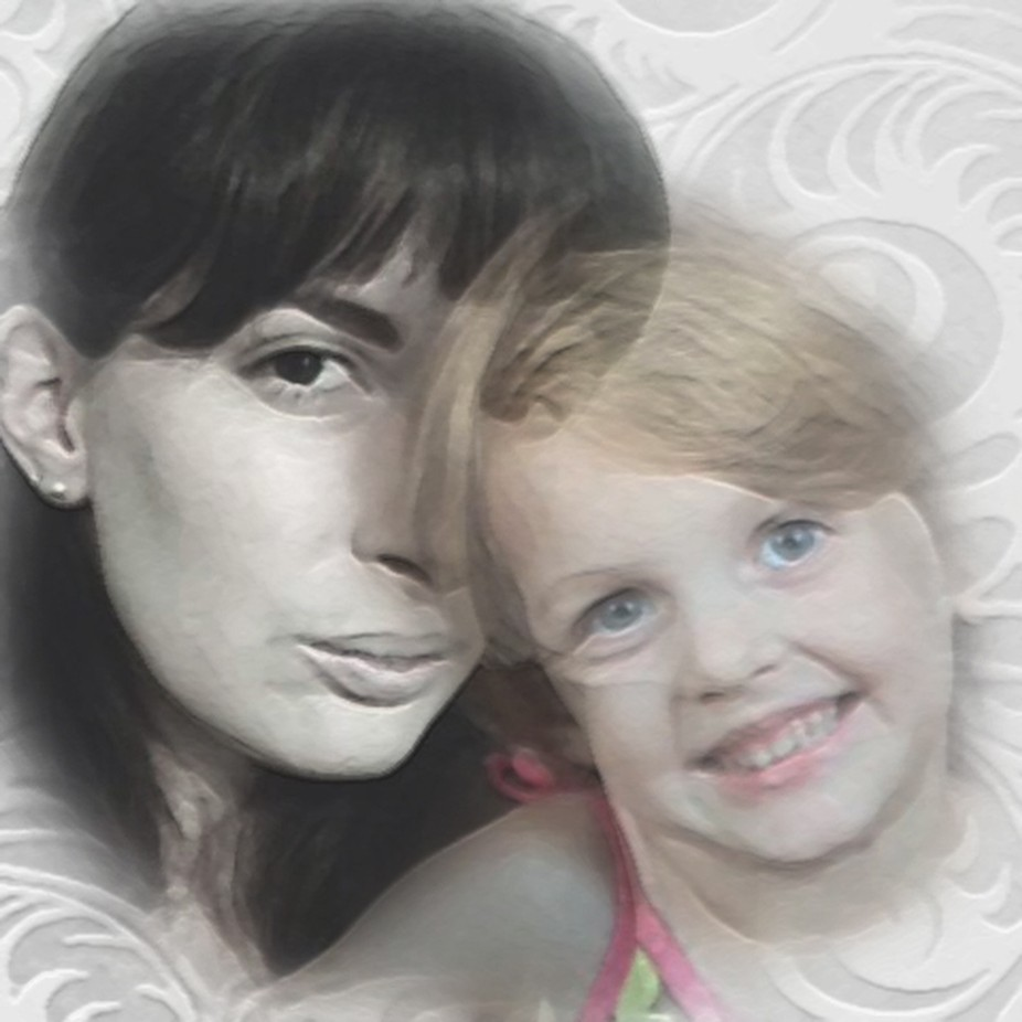 An artistic composite showing the juxtaposition of mother and daughter, the comparisons between the older and younger, dark features and light, black and white image versus color, a subtle smile against a vibrant one, the likenesses and differences between these two generations, bonded forever in love.