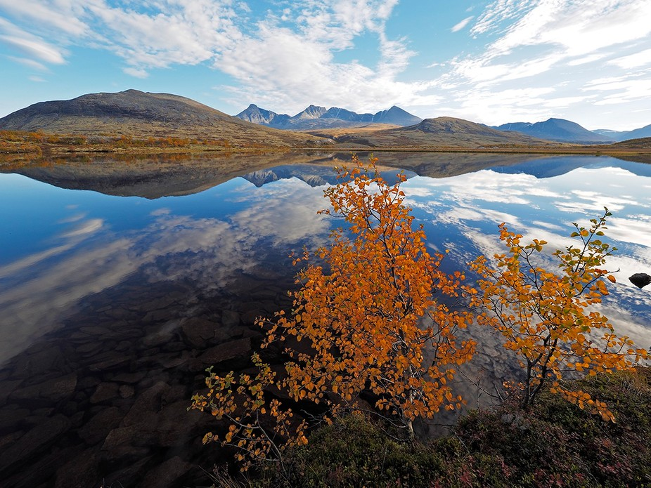 The Rondane mountain range captured in early autumn, Norway.